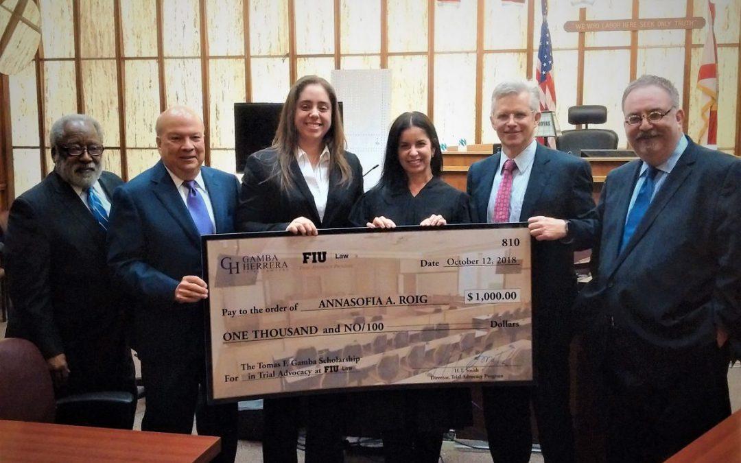 FIU Trial Team President Annasofia A. Roig Receives Inaugural Tomas F. Gamba Trial Advocacy Scholarship